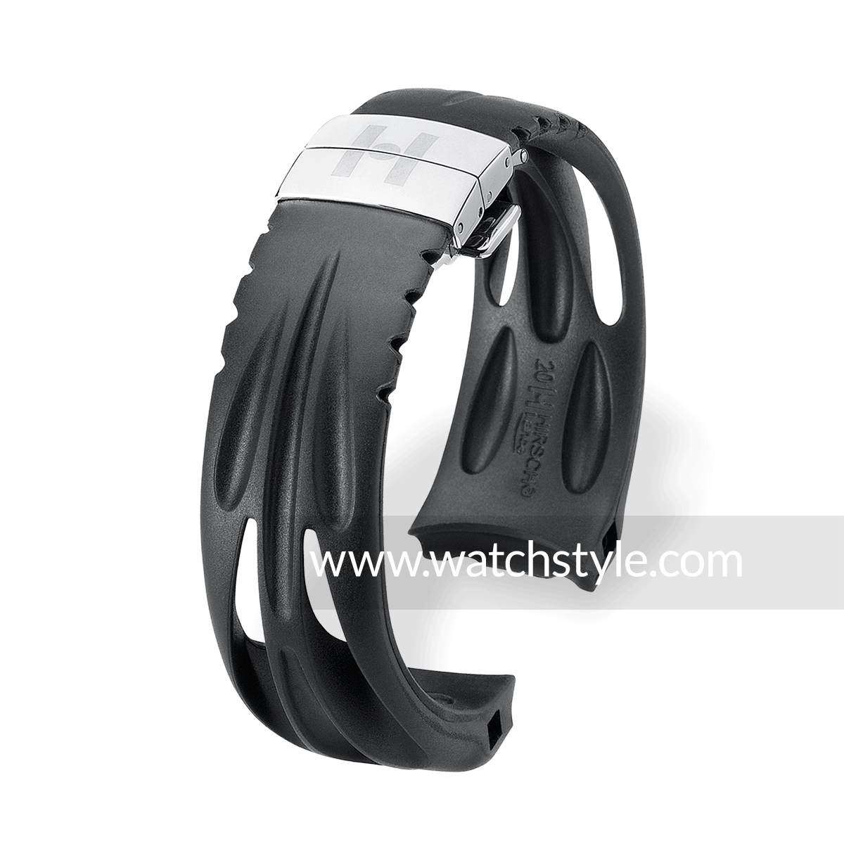 Hirsch Athlon Natural Rubber Watch Band Curved End