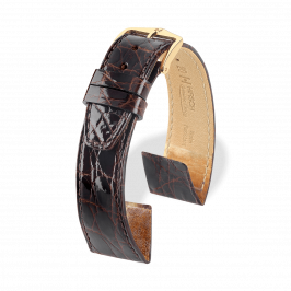Hirsch Certified Croco Brown Shiny