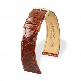 HIRSCH Genuine Croco Gold Brown Shiny