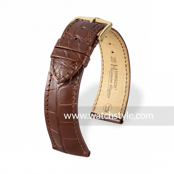 HIRSCH Genuine Alligator Brown Matt