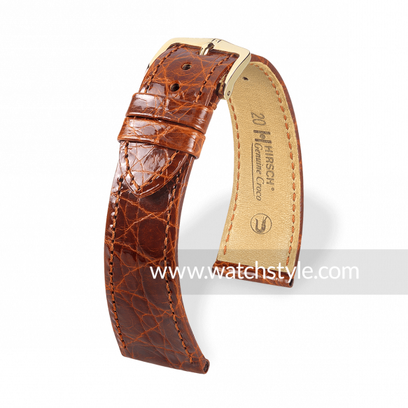 HIRSCH Genuine Croco Goldbraun glanz